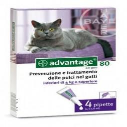 Advantage 80 solução para unção punctiforme para gatos de 4 kg e mais de peso - 4 pipetas - comprar Advantage 80 solução para...