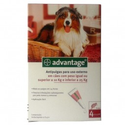 Advantage 250 solução para unção punctiforme para cães de 10 kg até 25 kg de peso - 4 pipetas - comprar Advantage 250 solução...