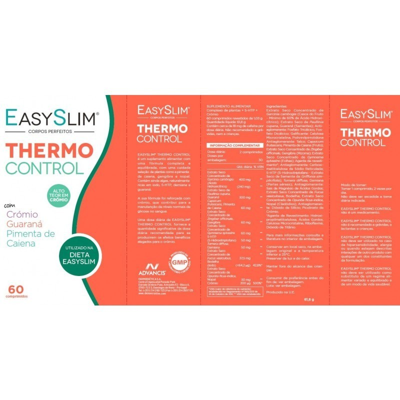 Easyslim Thermo Control - 60 comprimidos - comprar Easyslim Thermo Control - 60 comprimidos online - Farmácia Barreiros - far...