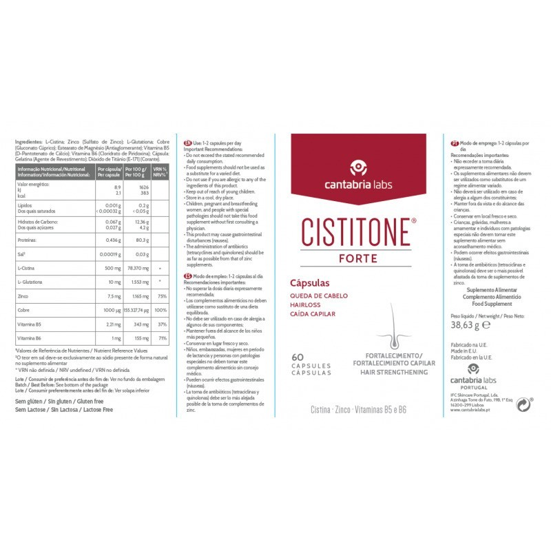 Cistitone Forte Suplemento Alimentar - 60 cápsulas - comprar Cistitone Forte Suplemento Alimentar - 60 cápsulas online - Farm...