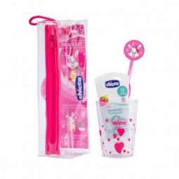 Chicco Conjunto de Higiene Oral Menina 3 a 6 anos - 1 escova de dentes + 50ml + 1 copo - comprar Chicco Conjunto de Higiene O...