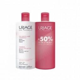 Uriage Água Termal Micelar - Pele Sensível Duo c/ Desconto 50% 2º Embalagem - 500 mL + 500 mL - comprar Uriage Água Termal Mi...