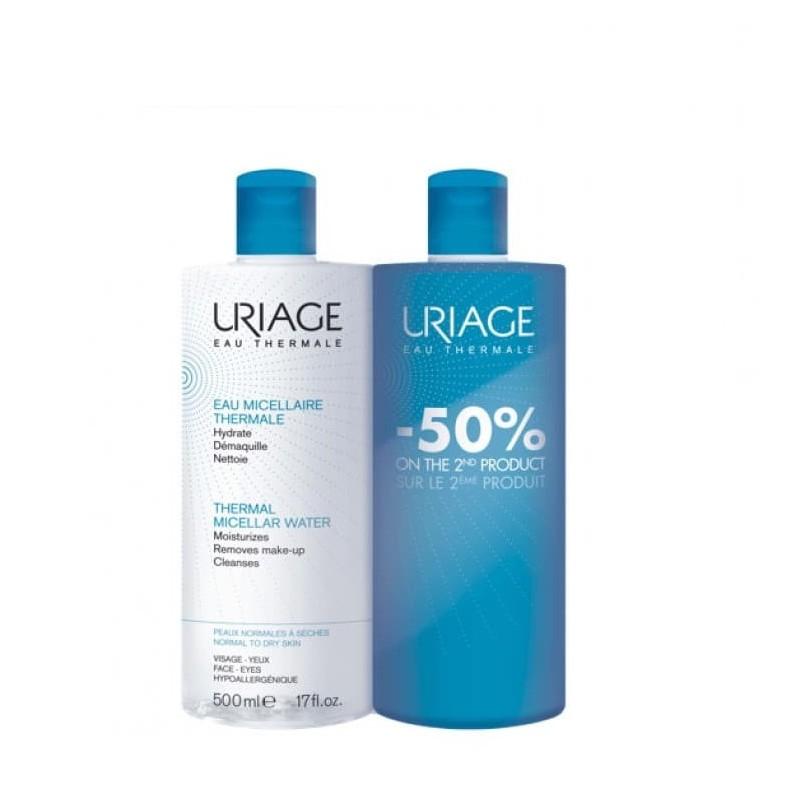 Uriage Água Termal Micelar - Pele Normal a Seca Duo c/ Desconto 50% 2ª Unidade - 500 mL + 500 mL - comprar Uriage Água Termal...
