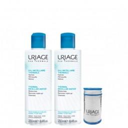Uriage Água Termal Micelar - Pele Normal a Seca Duo c/ Desconto 50% 2º Embalagem e Oferta Bolsa - 2 x 250 mL + 1 Bolsa - comp...