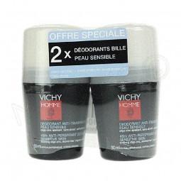 Vichy Homme Deo Roll-On Pele Sensível 48H Duo c/ Desconto 2.5€ - 2 x 50 mL - comprar Vichy Homme Deo Roll-On Pele Sensível 48...