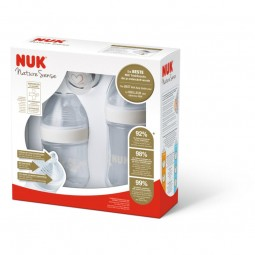 Nuk Pack Genius Chupeta Silicone T1 0-6M + Nature Sense Biberões com Tetina Silicone - 150 mL + 260 mL - comprar Nuk Pack Gen...