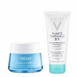 Vichy Coffret Aqualia Thermal Gel-Creme com Oferta Pureté Thermale Desmaquilhante Integral 3 em 1 - 50mL + 100mL - comprar Vi...