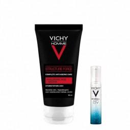 Vichy Homme Structure Force Cuidado anti-idade com Oferta Mineral 89 Concentrado Fortificante e Preenchedor - 50mL + 10mL - c...
