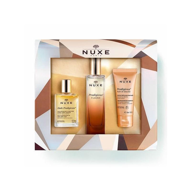 Nuxe Coffret Prodigieux Le Parfum + Nuxe Huile Prodigieuse + Nuxe Prodigieux Óleo de Duche - 50mL + 30mL + 30mL - comprar Nux...