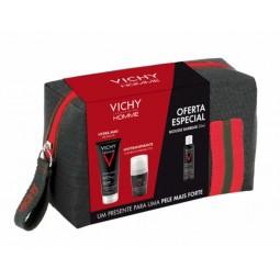Vichy Homme Coffret Deo Antitranspirante 72h + Hydra Mag C Gel de Duche com Oferta Mousse de Barbear - 50 mL + 200 mL + 50 mL...