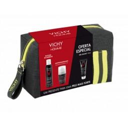 Vichy Homme Coffret Mousse de Barbear + Deo Antitranspirante 72h com Oferta Hydra Mag C Gel de Duche - 200mL + 50mL + 100mL -...