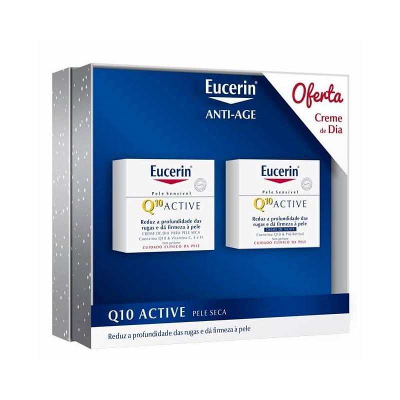 Eucerin Q10 Active Creme Noite c/ Oferta Creme Dia Pele Seca e Sensível - 50 mL + 50 mL - comprar Eucerin Q10 Active Creme No...