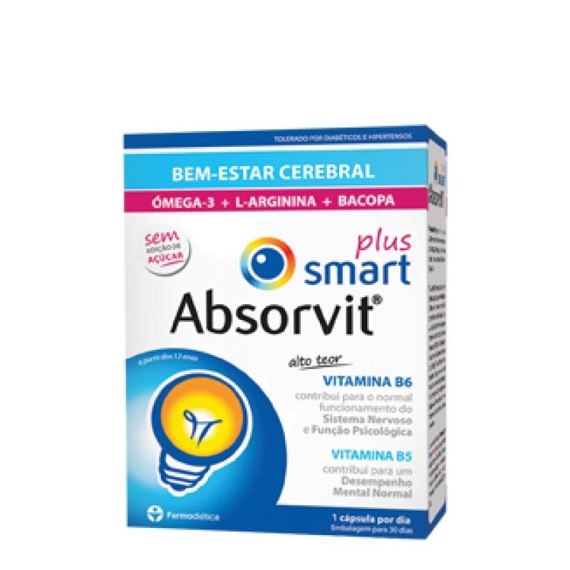 Absorvit Smart Plus - 30 cápsulas - comprar Absorvit Smart Plus - 30 cápsulas online - Farmácia Barreiros - farmácia de serviço