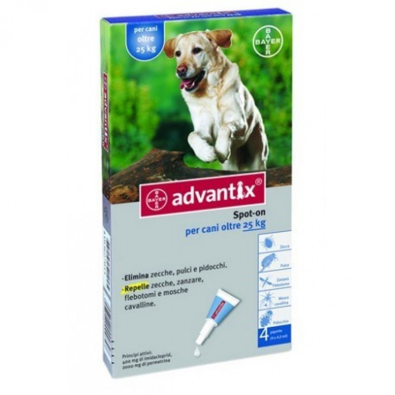 Advantix solução para unção punctiforme para cães com mais de 25 kg até 40 kg - 400/2000 mg - comprar Advantix solução para u...