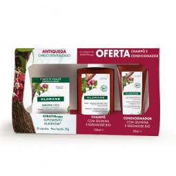 Klorane KERATINcaps Suplemento Alimentar + Champô Anti-Queda + Bálsamo - 30 cápsulas + 100 mL + 50 mL - comprar Klorane KERAT...
