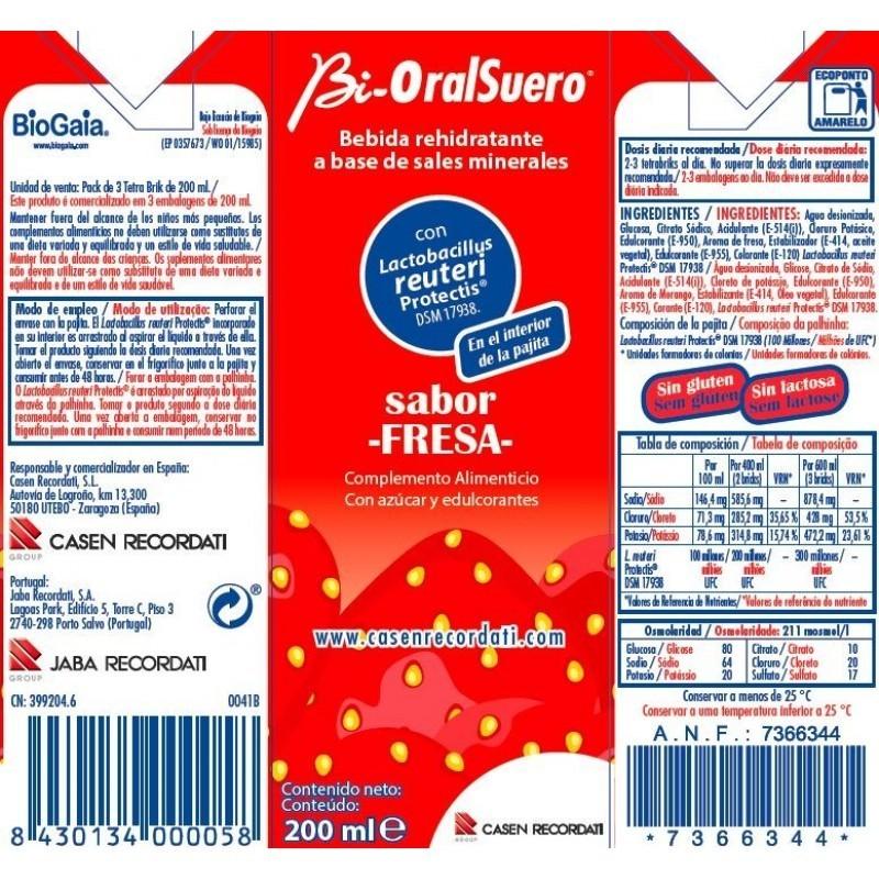 Bi-Oral Suero Solução Oral Morango - 3 x 200 mL - comprar Bi-Oral Suero Solução Oral Morango - 3 x 200 mL online - Farmácia B...