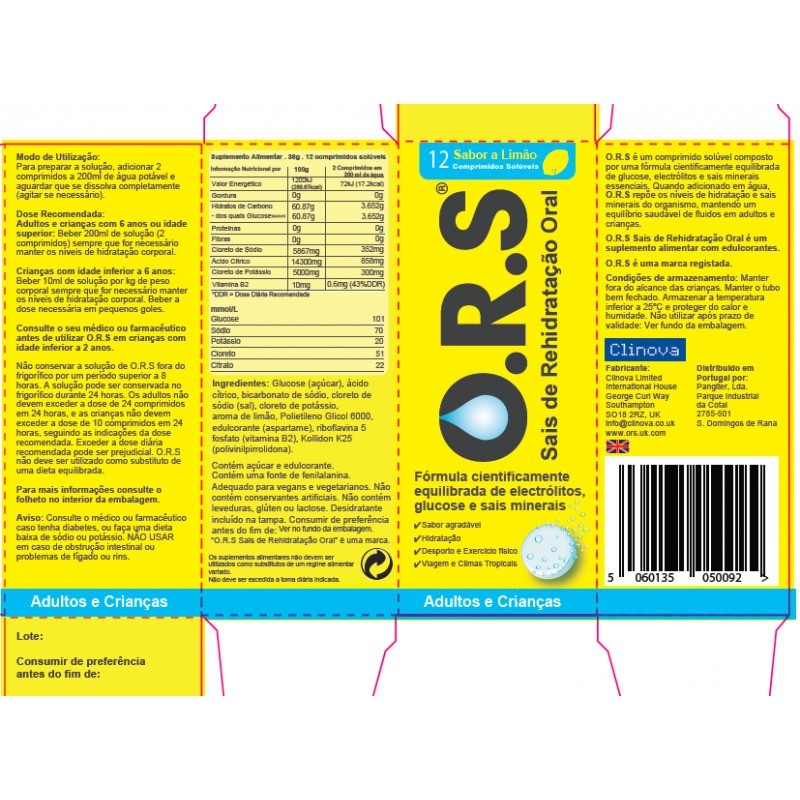 O.B O.R.S. Limão - 12 comprimidos efervescentes - comprar O.B O.R.S. Limão - 12 comprimidos efervescentes online - Farmácia B...