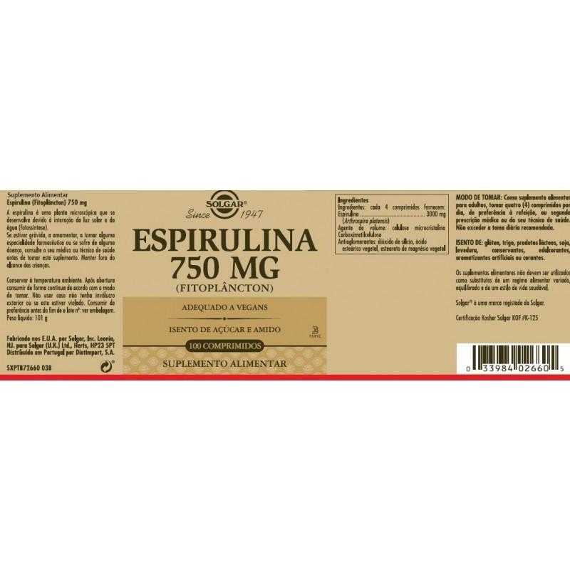 Solgar Espirulina - 100 comprimidos - comprar Solgar Espirulina - 100 comprimidos online - Farmácia Barreiros - farmácia de s...